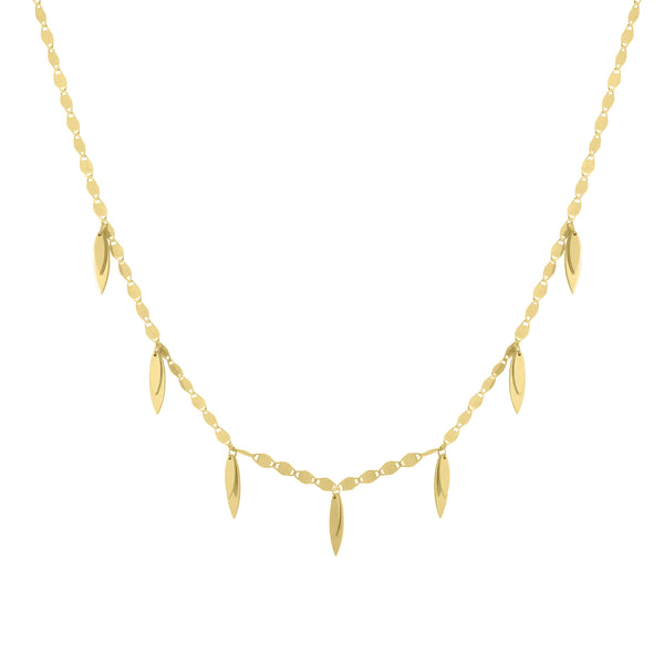Multi-Sized Dangling Leaves Necklace, 17 Inches, 14K Yellow Gold