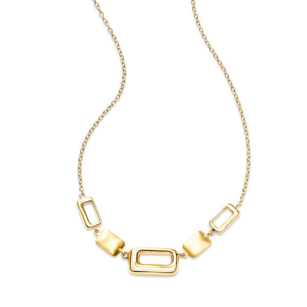 Geometric Element Necklace, 14K Yellow Gold