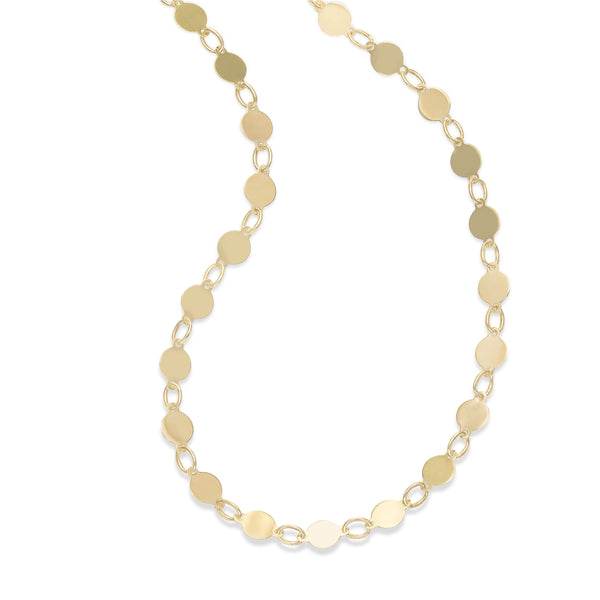 High Polish Disc Chain Necklace, 14K Yellow Gold