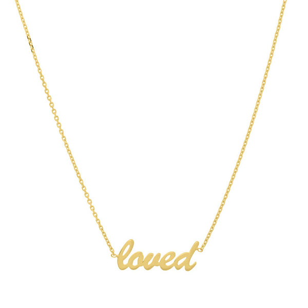 LOVED Necklace, 14K Yellow Gold