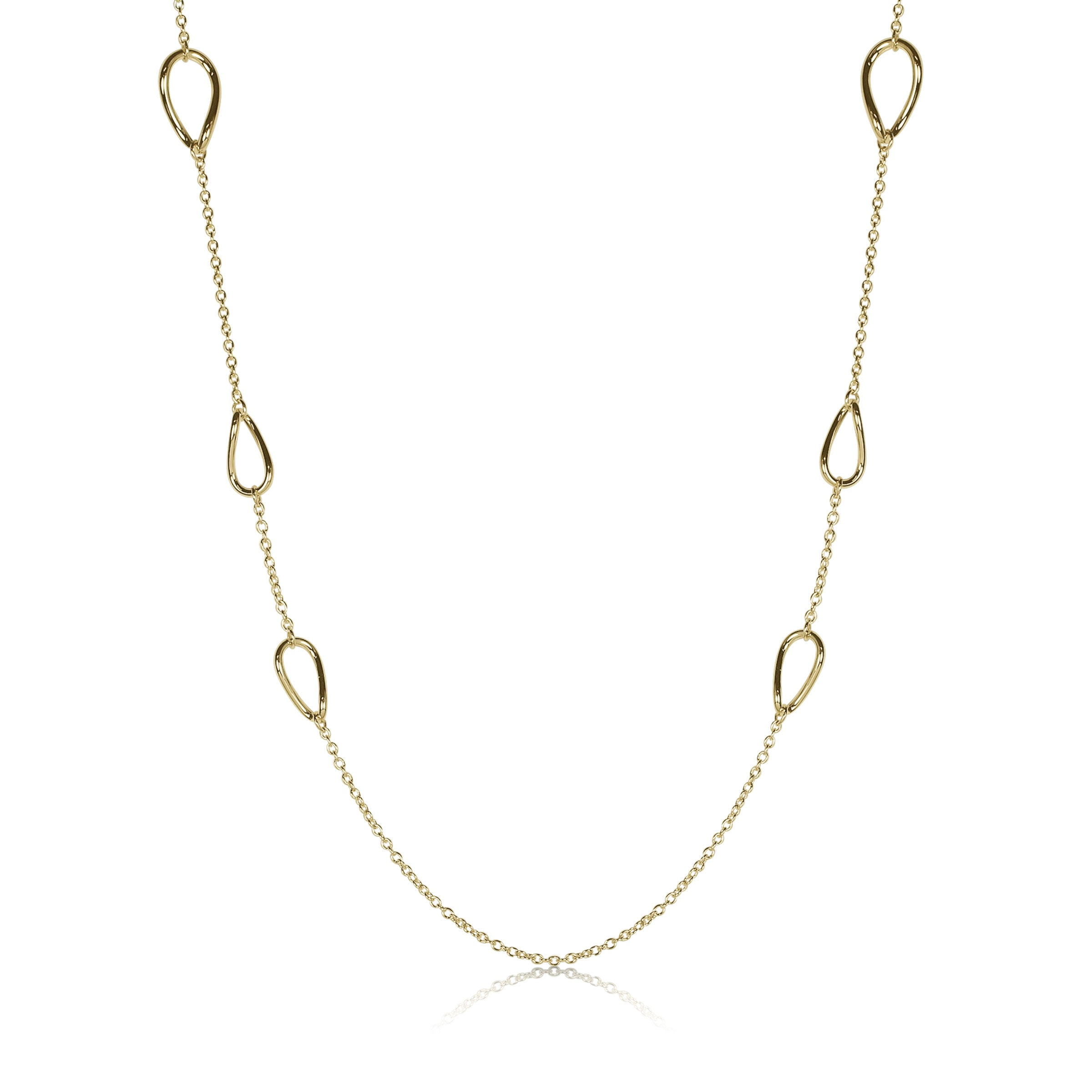 Large Open Link and Chain Necklace, 32 Inches, 14K Yellow Gold