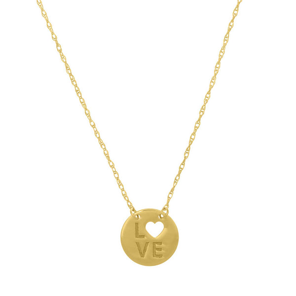 Love Disk Necklace, 14K Yellow Gold