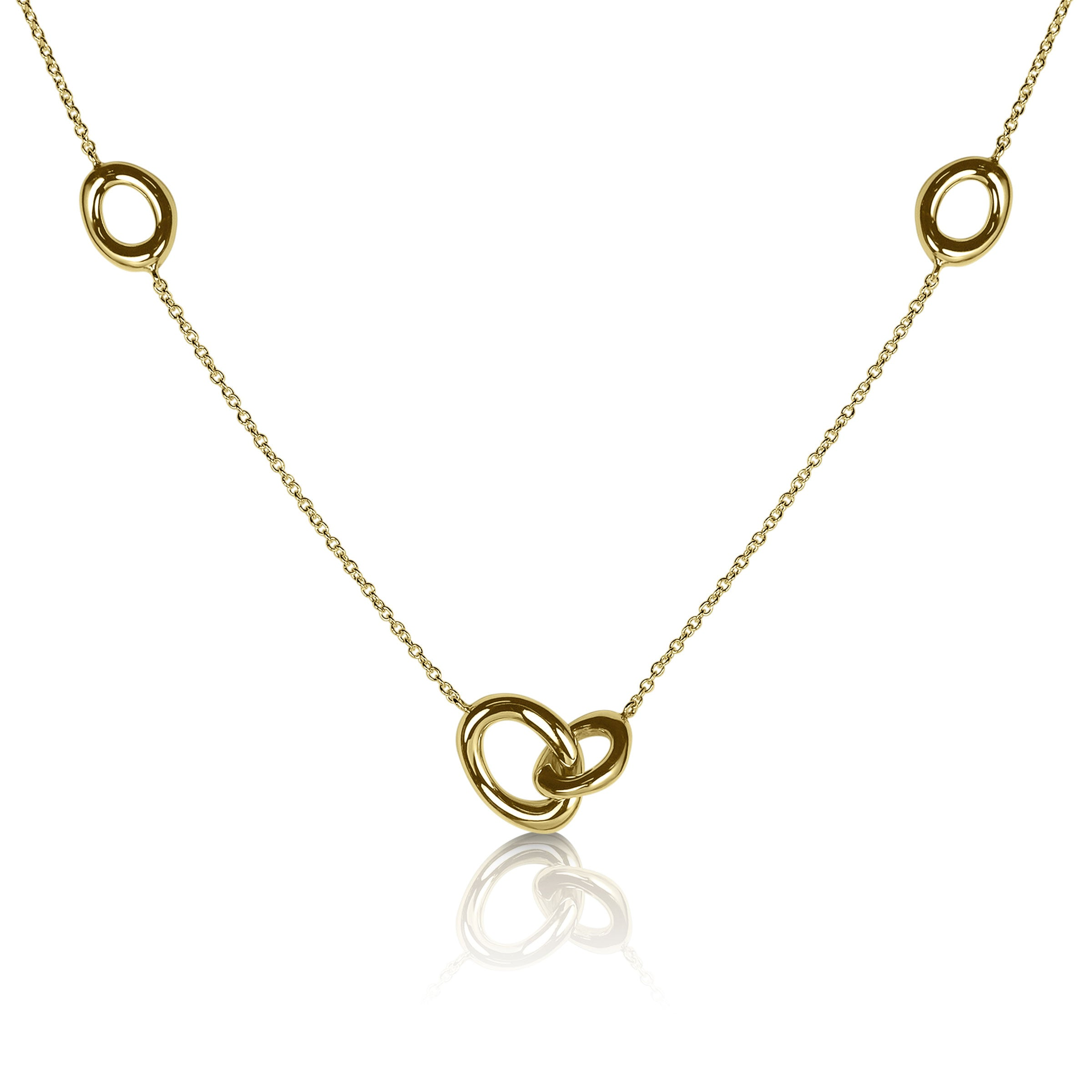 Oval Link and Chain Necklace, 14K Yellow Gold