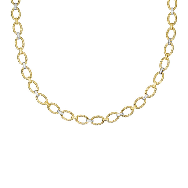 Rope Twist Oval Link Necklace, 18 Inches, 14 Karat Gold