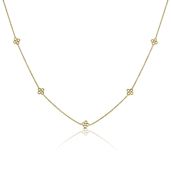 Clover Station Necklace, 14K Yellow Gold