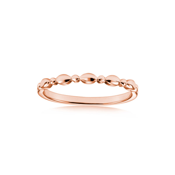 Stackable Multi Shape Beaded Ring, 14K Rose Gold