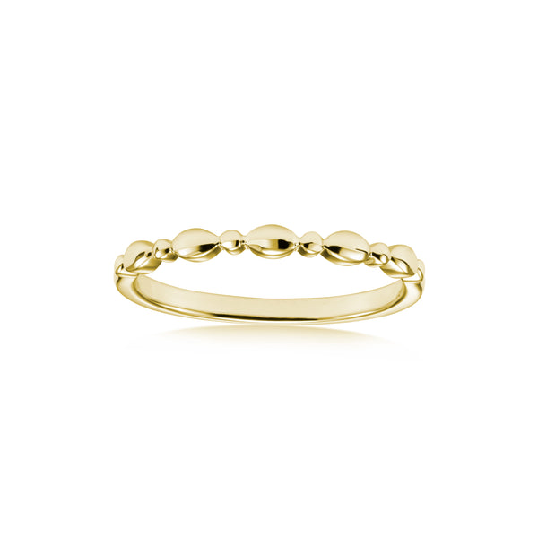 Stackable Multi Shape Beaded Ring, 14K White Gold