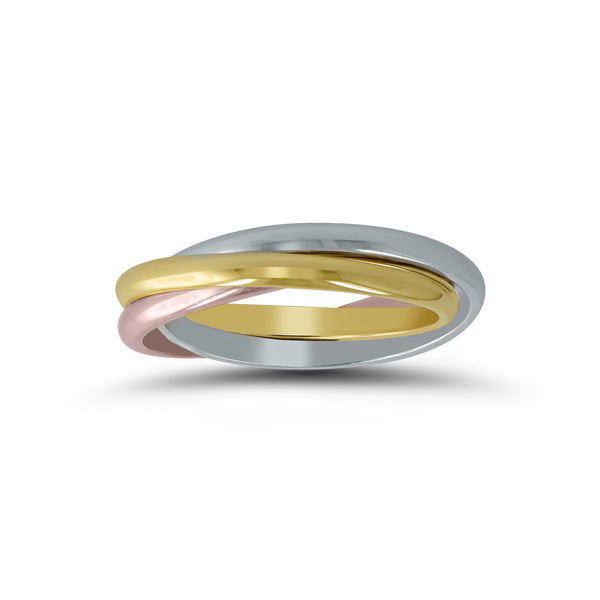 Tricolor Rolling Band Ring, 14 Karat Gold