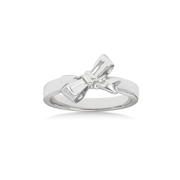 Bow Design Pinkie Ring, 14K White Gold