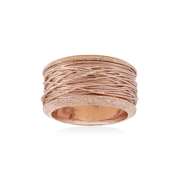 Wide Band Ring with Wire Style Center, 14K Rose Gold