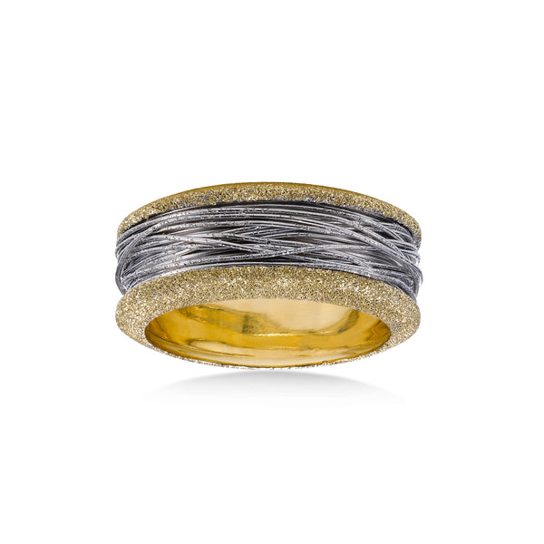 Two Tone Wide Band Ring with Wire Style Center, 14 Karat Gold