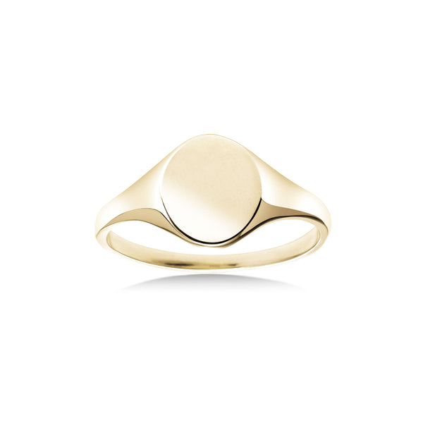 Medium Oval Signet Ring, 14K Yellow Gold