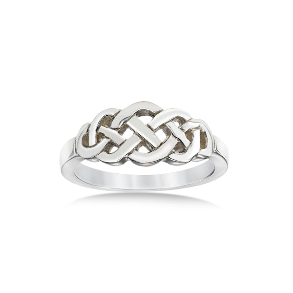 Celtic Design Ring, 14K White Gold
