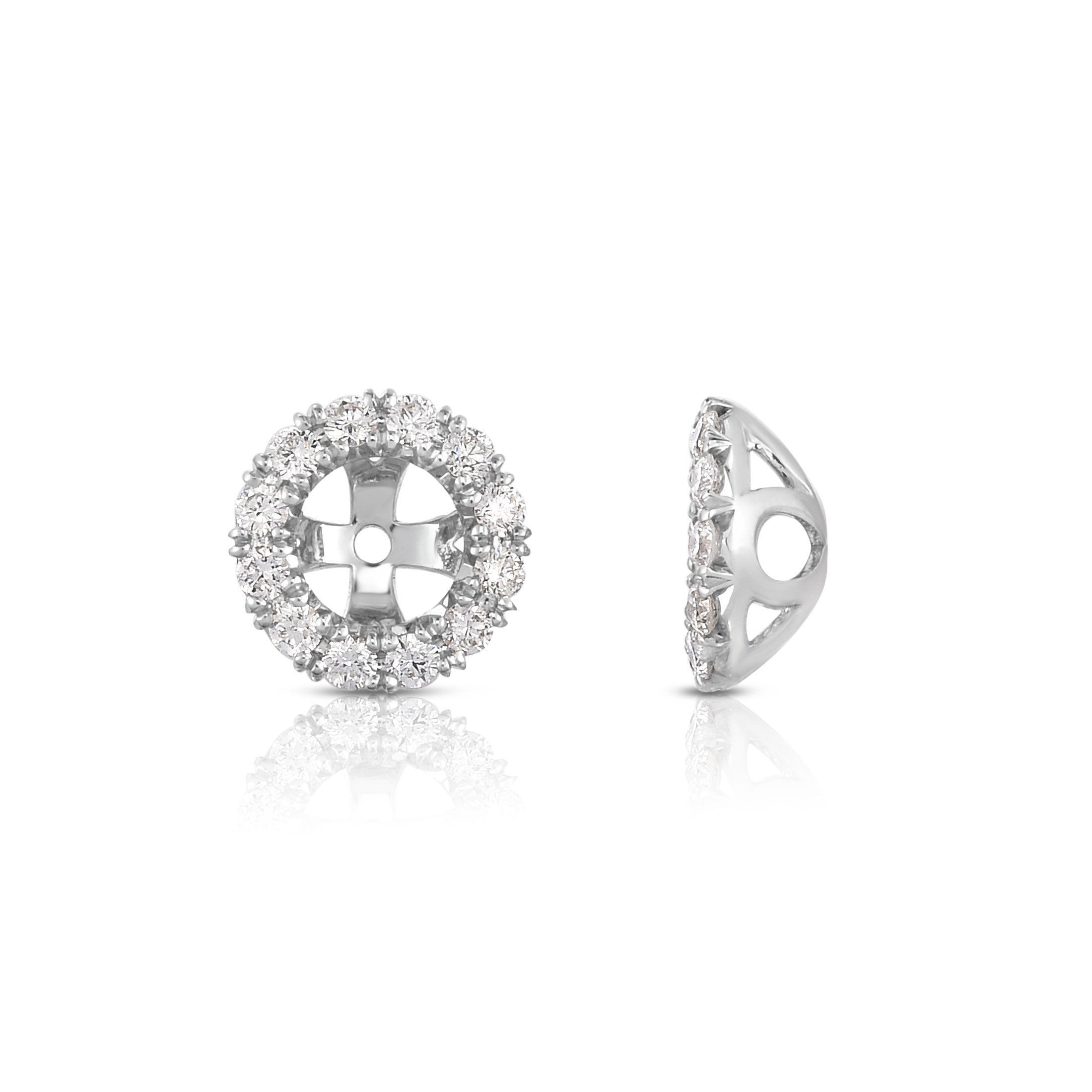 Round Diamond Halo Earring Jackets, 14K White Gold