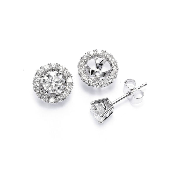 Halo Earring Jackets, 14K White Gold