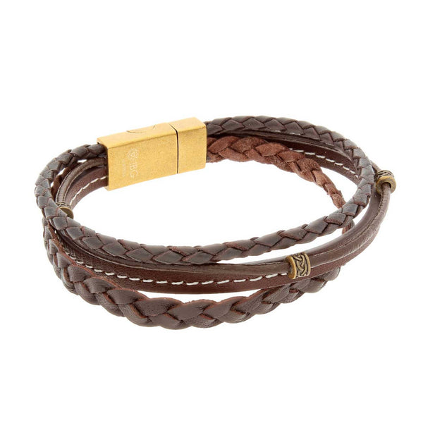 Triple Strand Brown Leather Bracelet, 8.25 Inches
