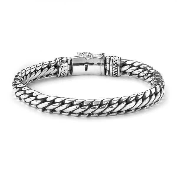 Woven Men's Bracelet, 8 inches, Sterling Silver