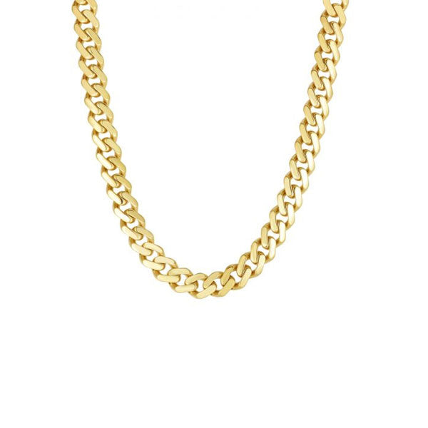 Flat Miami Cuban Chain Necklace, 20 Inches, 14 Yellow Gold