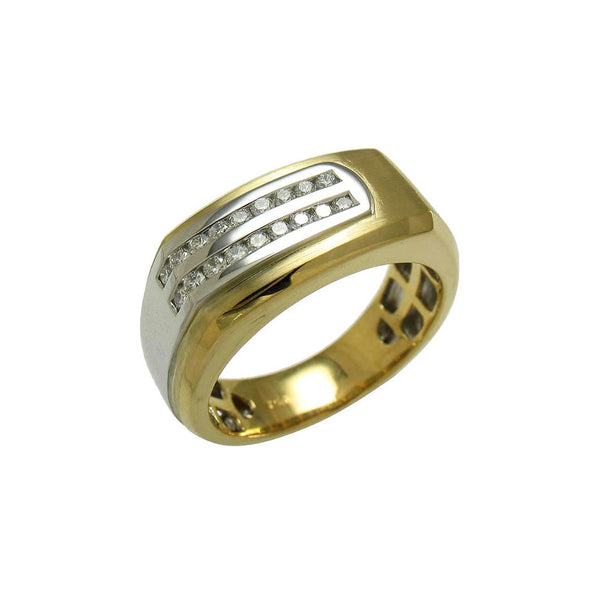 Two Tone Ring with Diamonds, Size 10, 18 Karat Gold