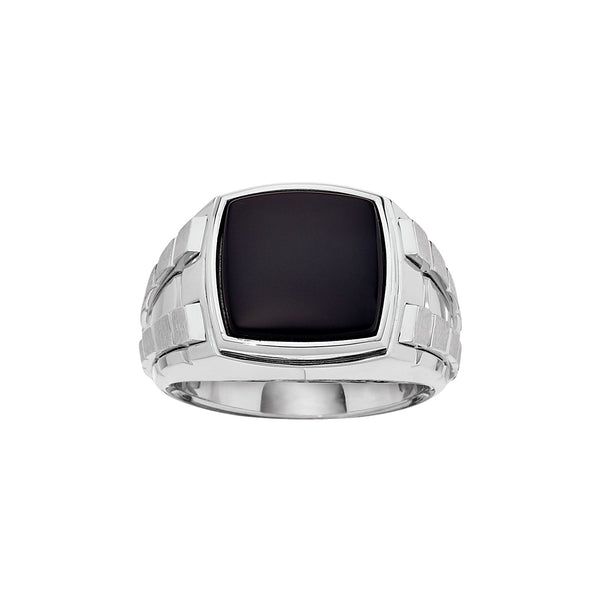 Square Black Onyx Ring, Size 10, Sterling Silver