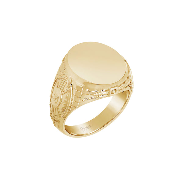Round Signet Ring, Sterling Silver with Yellow Gold Plating