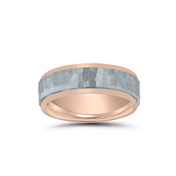 Hammered Finish Center Wedding Band, 6 MM, Sterling and Rose Gold Plating
