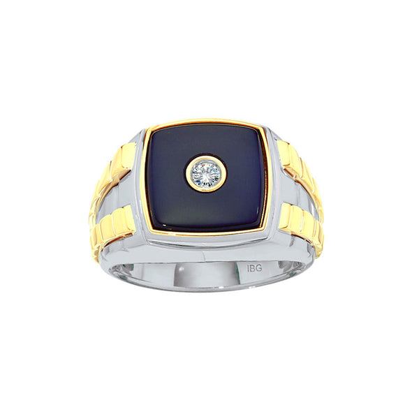 Two Tone Black Onyx Ring with Diamond Accent, Size 10.5, 14K Gold