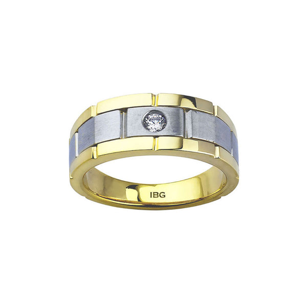Two Tone Men's Diamond Ring, 14 Karat Gold