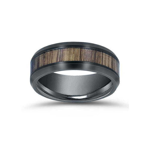 Ceramic and Wood Inlay Ring, Size 10