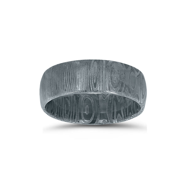 Patterned Damascus Steel Ring, Size 10