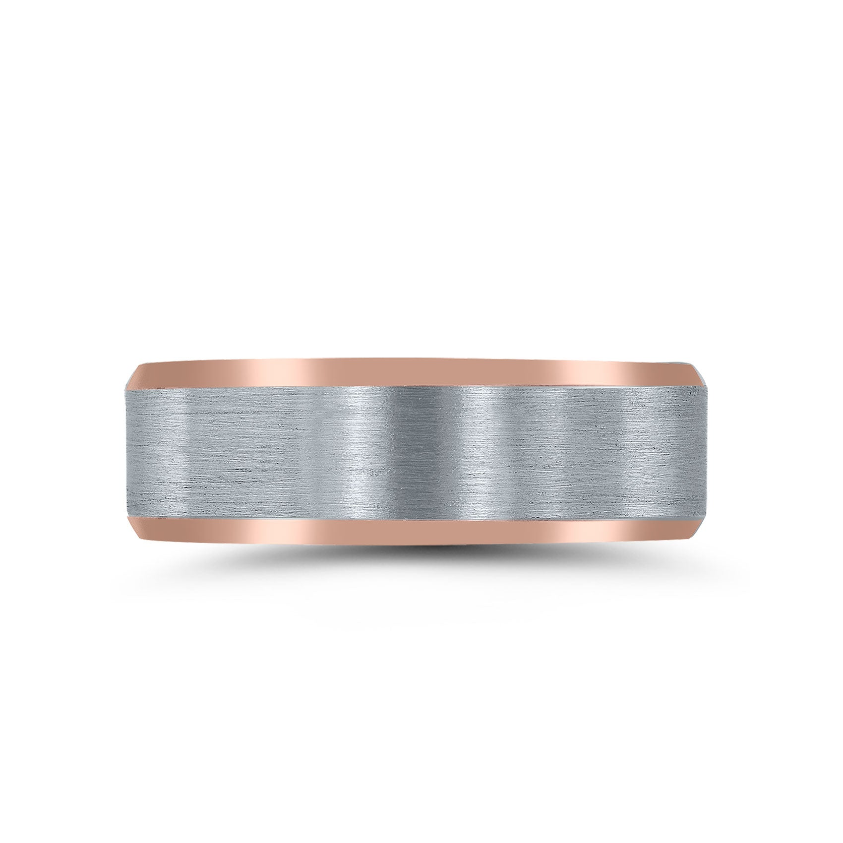 Brushed Center Wedding Band, 7 MM, Sterling and Rose Gold Plating