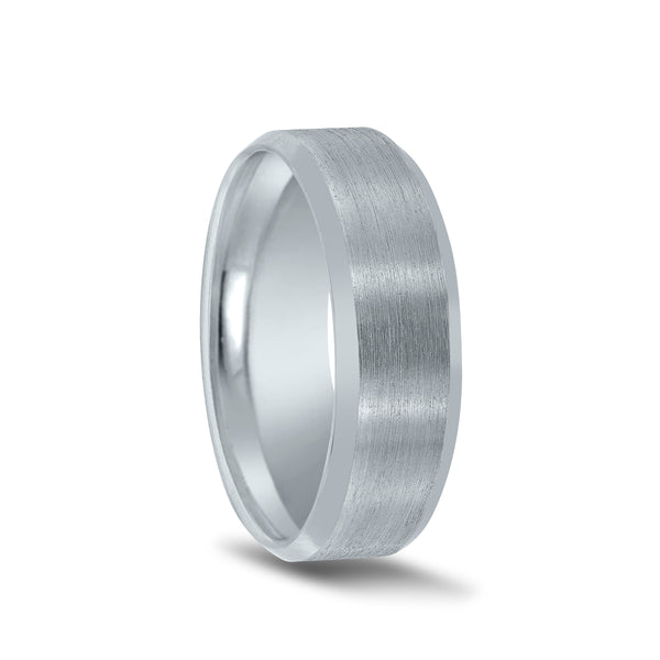 Flat Brushed Center Wedding Band, 7 MM, Argentium Sterling Silver