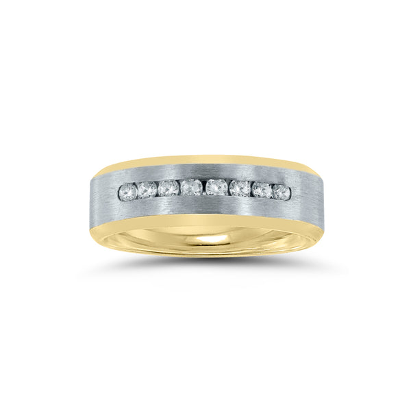 Two Tone Wedding Band with Diamonds, 7 MM, 14 Karat Gold