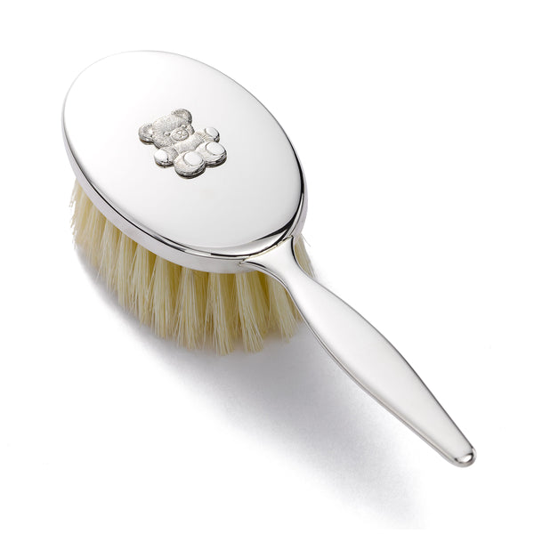Sterling Silver Baby Brush, 6 Inches Long, Teddy Bear Design