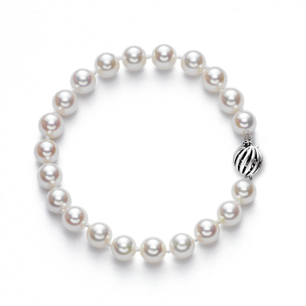 Akoya Cultured Pearl Bracelet, 7 x 6.5 MM, 14K White Gold