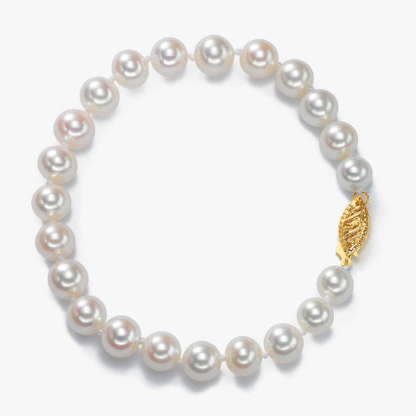 Freshwater Cultured Pearl Bracelet,  7.5 x 7 MM, 14K Yellow Gold