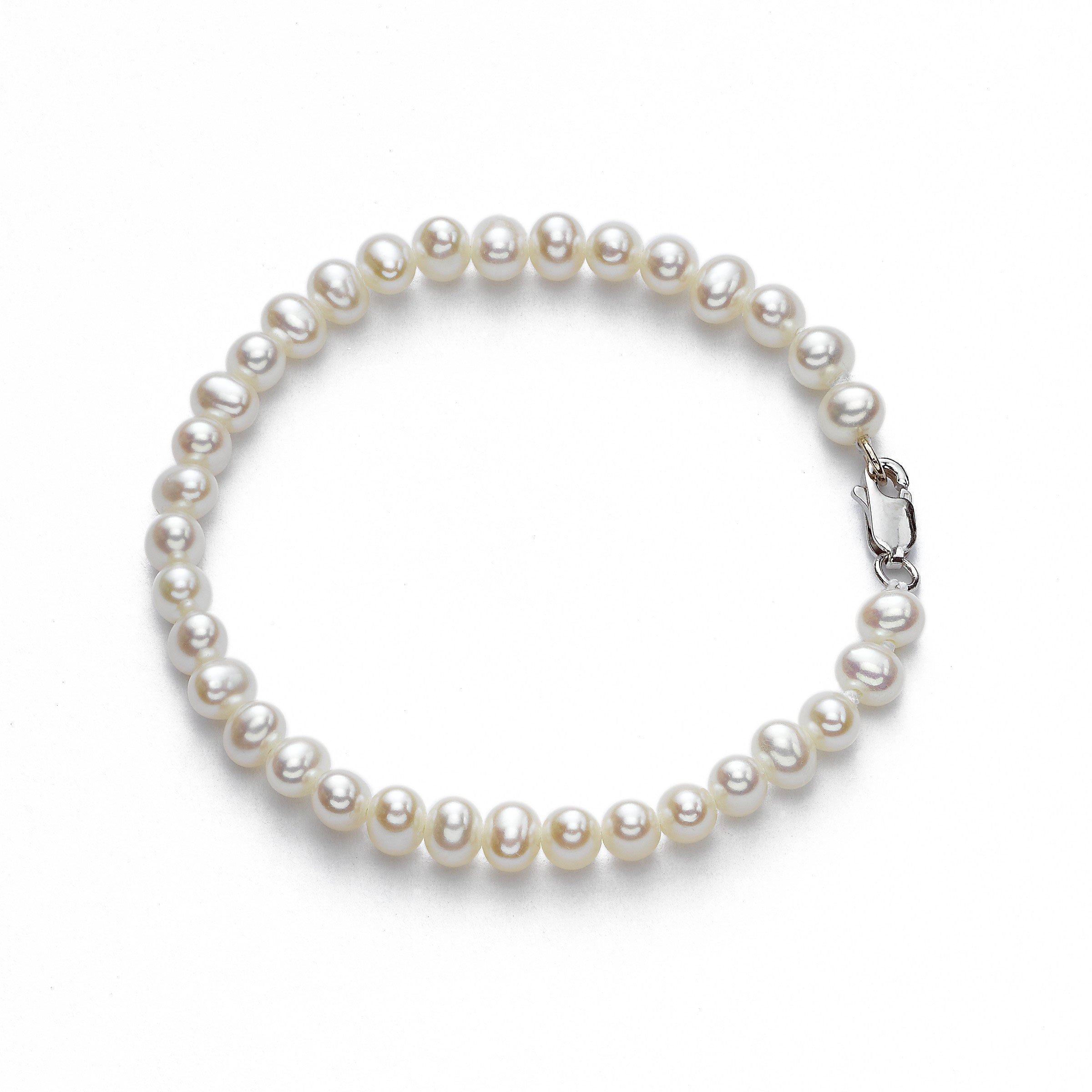 Children's Freshwater Cultured Pearl Bracelet, 14K White Gold