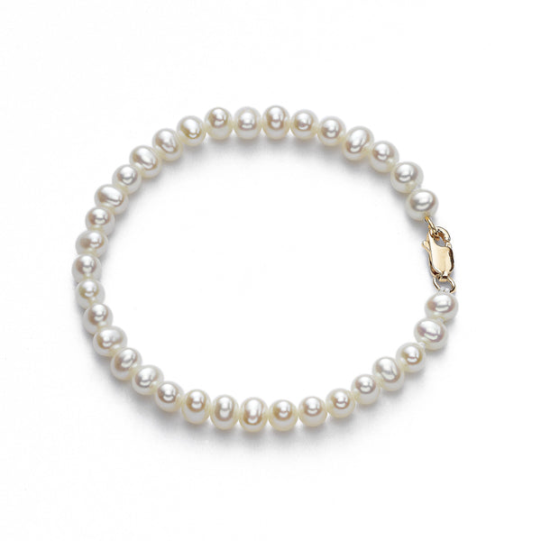 Children's Freshwater Cultured Pearl Bracelet, 14K Yellow Gold
