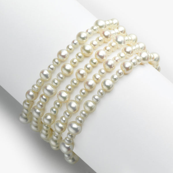 White Freshwater Cultured Pearl Bracelet, Set of 5