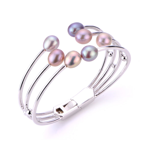 Multi Row Pink Cultured Pearl Cuff Bracelet, Sterling Silver