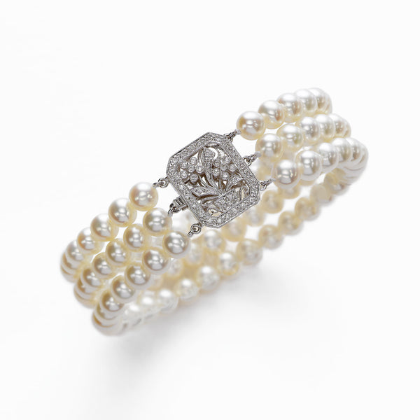 Triple Cultured Pearl And Diamond Bracelet, 14K White Gold