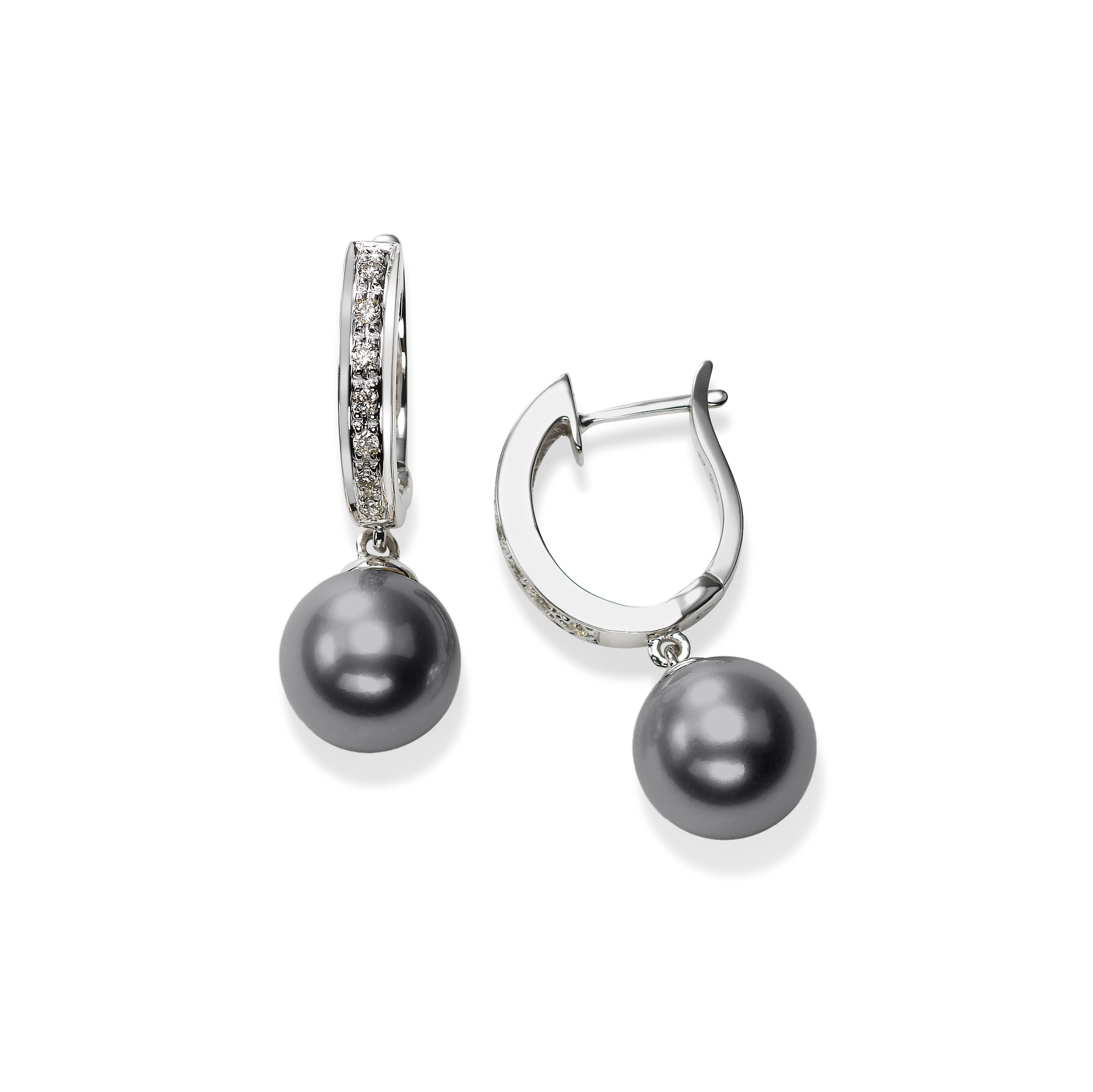 Diamond Half Hoop Tahitian Cultured Pearl Drop, 14K White Gold