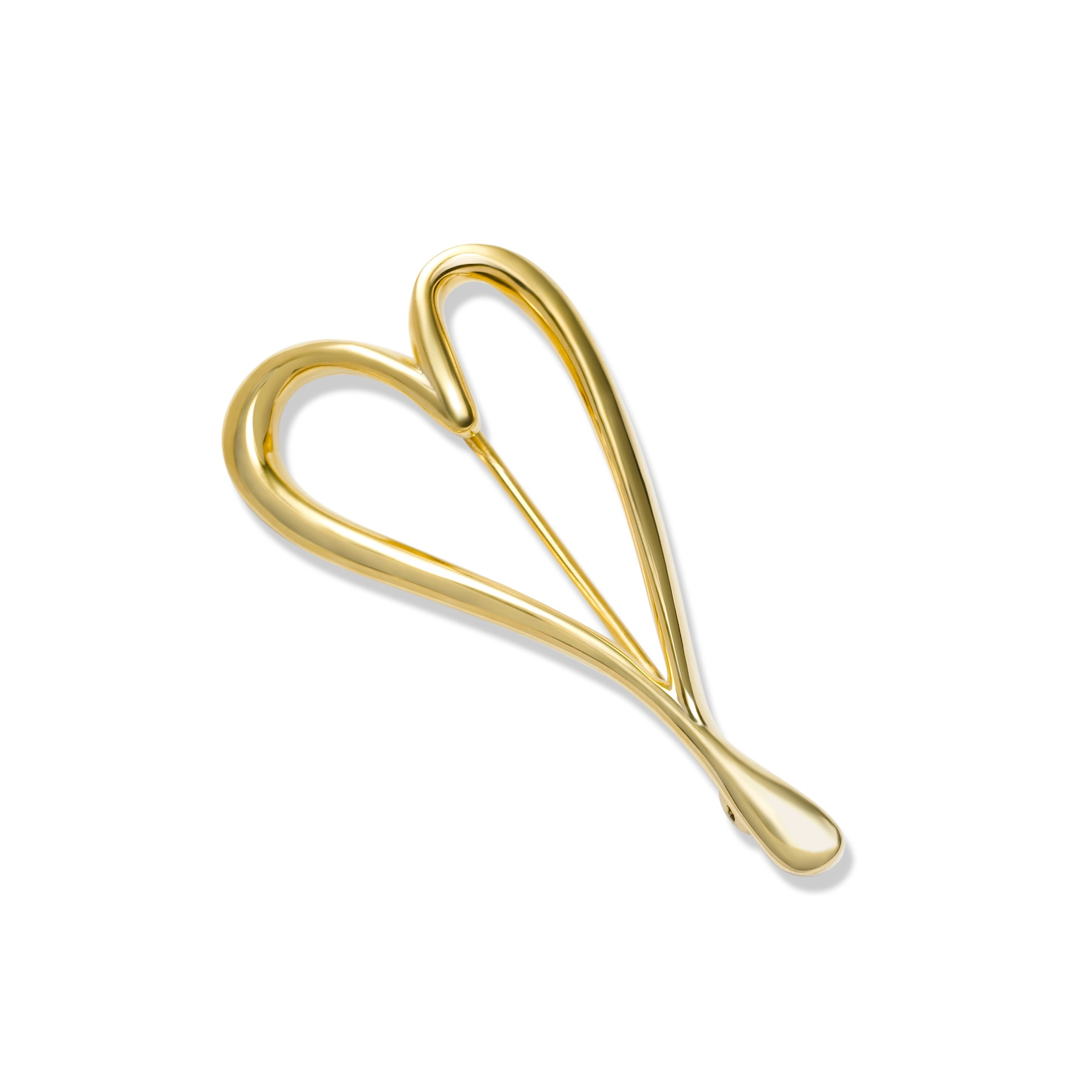 Modern Design Heart Pin, Sterling Silver with Yellow Gold Plating