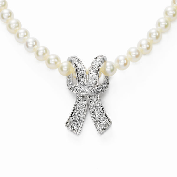 Freshwater Cultured Pearl Necklace with Diamond Ribbon, 14K White Gold