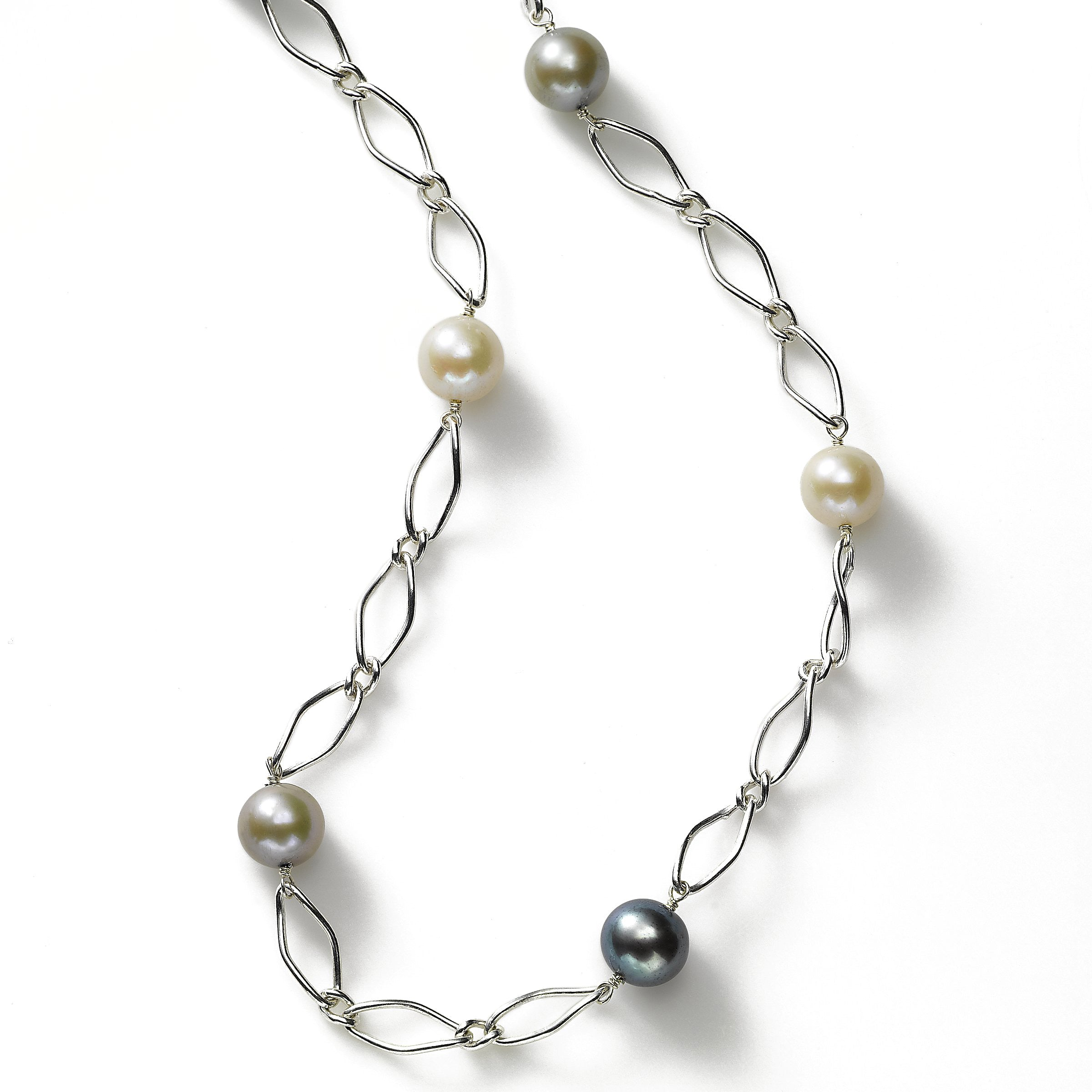 Multi-Color Freshwater Pearls, 9 mm, 36 inches, Sterling Silver