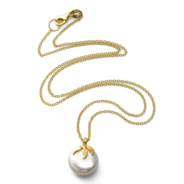 Freshwater Cultured Coin Pearl Pendant, 14K Yellow Gold