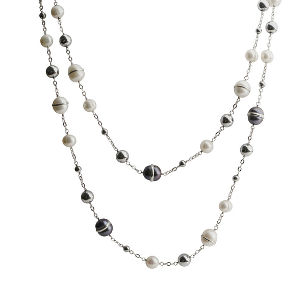 Grey and White Freshwater Cultured Pearl Necklace, Sterling Silver