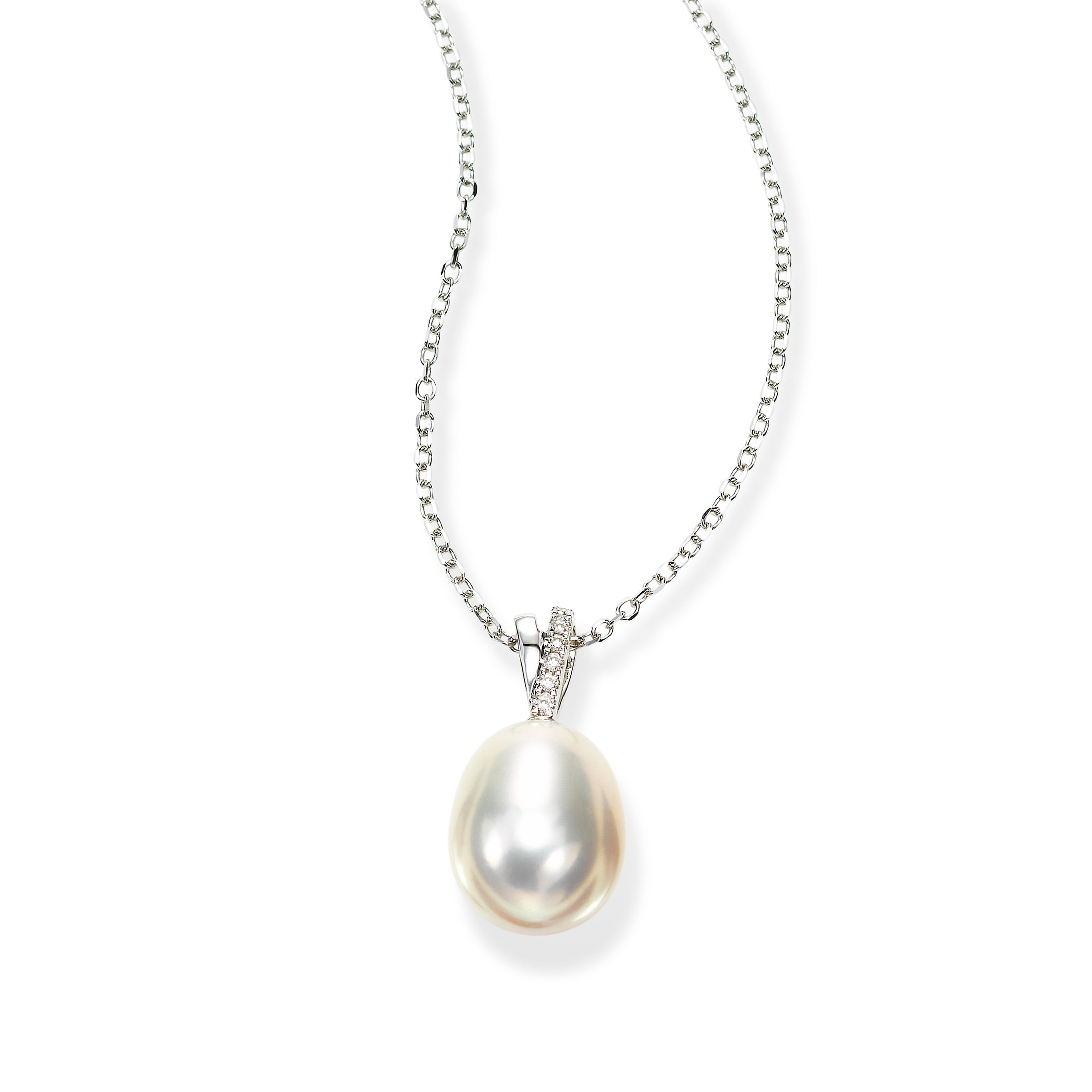 abb408258 Fortunoff Fine Jewelry. Home; Oval Freshwater Cultured Pearl Pendant with  Diamond ...