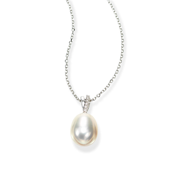 Oval Freshwater Cultured Pearl Pendant with Diamond Bale, 14K White Gold