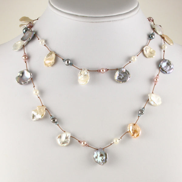 """Keshi"" And Round Freshwater Cultured Pearl Necklace, 35 Inches"